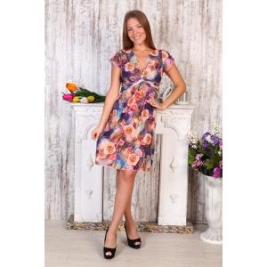 Платье Софья масло розы на фиолетовом Д408 р 54