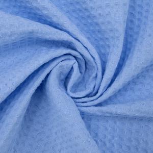 Вафельное полотно гладкокрашенное 150 см 240 гр/м2 7х7 мм премиум цвет 409 голубой