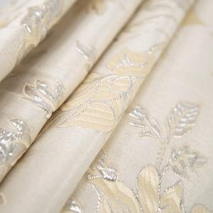 Портьерная ткань с люрексом 150 см на отрез H627 цвет 13 светло-бежевый цветы