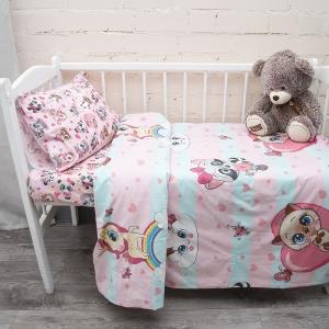 Постельное белье в детскую кроватку из перкаля 16142/1+13175/1 с простыней на резинке 160/80/15