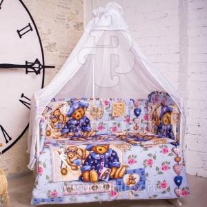 Набор в кроватку 7 предметов с оборками Мишка прованс
