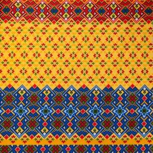 Вафельное полотно набивное 150 см 440/3 Народный цвет синий
