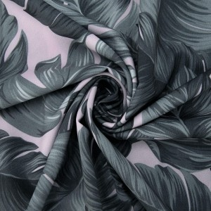 Ткань на отрез ниагара 150 см D1007-2 Монстера на розовом