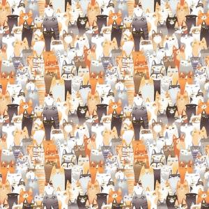 Перкаль 150 см набивной арт 140 Тейково рис 13128 вид 1 Котики