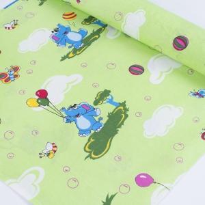 Набор детских пеленок бязь 4 шт 90/120 см 140 гр/м2 315/3 Слоники зеленый