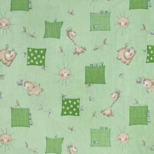 Ткань на отрез бязь 120 гр/м2  детская 150 см 366/2 Жирафики цвет зеленый