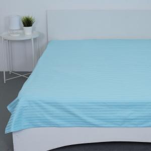 Простыня страйп-сатин 906 цвет голубой 1.5 сп