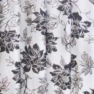 Портьерная ткань с люрексом 150 см на отрез  Н627 цвет 8 серый цветы