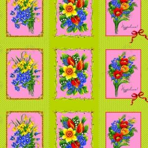 Рогожка 150 см 4520/3 Цветы купоны зелёный
