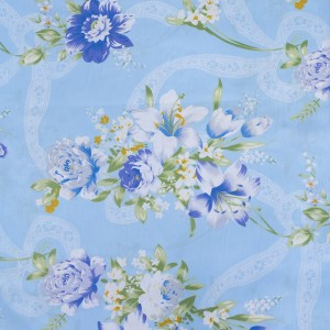 Тик 220 см 145 +/- 5 гр/м2 Цветная роза цвет голубой 005