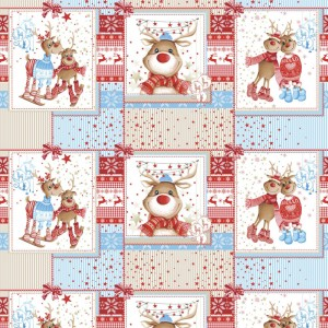 Ткань на отрез вафельное полотно набивное 150 см 207251В Помощники Санты цвет красный