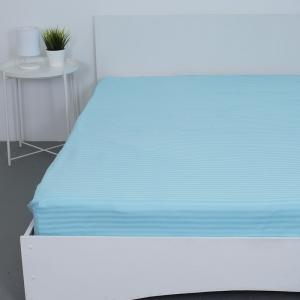 Простынь на резинке страйп-сатин 906 цвет голубой 180*200*20 см