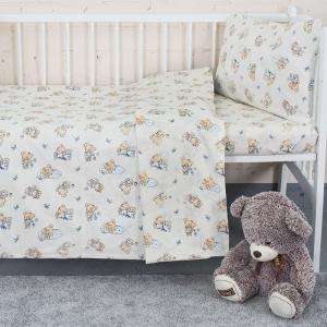 Постельное белье в детскую кроватку 1841/1 поплин с простыней на резинке