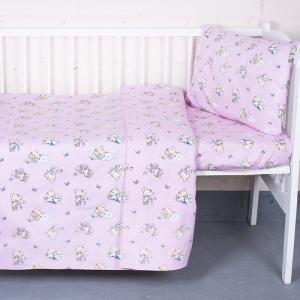 Постельное белье в детскую кроватку 1841/2 поплин с простыней на резинке