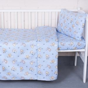 Постельное белье в детскую кроватку 1841/3 поплин с простыней на резинке
