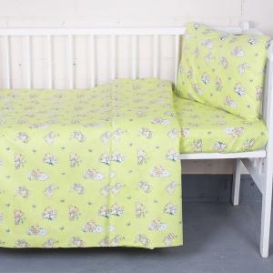 Постельное белье в детскую кроватку 1841/4 поплин с простыней на резинке