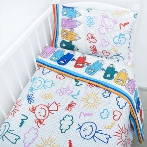 Постельное белье в детскую кроватку 1790/2 с простыней на резинке