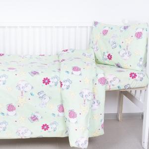 Постельное белье в детскую кроватку 1835/5 поплин с простыней на резинке