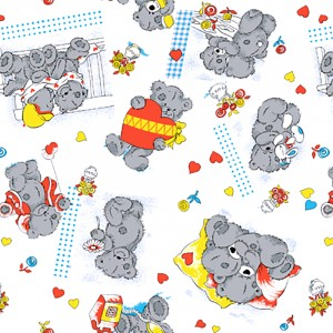 Ткань на отрез бязь 120 гр/м2  детская 150 см 0543/5 Мишки Тедди