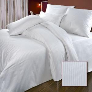 Ткань на отрез Страйп сатин полоса 1х1 см 280 см 140 гр/м2 цвет белый