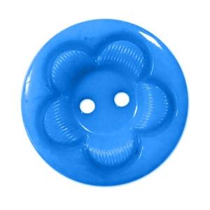 Пуговица детская на два прокола кругл Цветок 15 мм цвет голубой упаковка 24 шт
