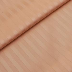 Ткань на отрез Страйп сатин полоса 1х1 см 220 см 135 гр/м2  цвет 113 персиковый