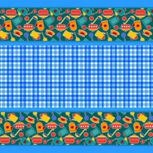 Вафельное полотно набивное 150 см 431/1 Кухня цвет синий