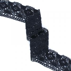 Кружево лен А36-Ч 7,5см черный 1 метр