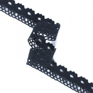 Кружево лен S1009 Чёрный 2.7см 1метр