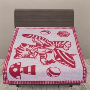 Одеяло п/ш жаккардовое детское 420 гр/м2 коты цвет вишня 100/140 см