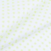 Ткань на отрез бязь плательная 150 см 1359/22А белый фон салатовый горох