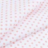 Ткань на отрез бязь плательная 150 см 1359/24А белый фон персиковый горох
