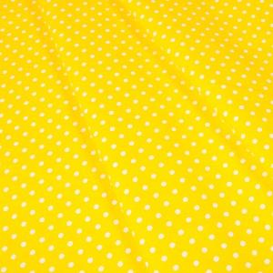 Ткань на отрез бязь плательная 150 см 1359/21 желтый фон белый горох