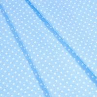 Ткань на отрез бязь плательная 150 см 1359/23 голубой фон белый горох