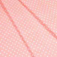 Ткань на отрез бязь плательная 150 см 1359/24 персиковый фон белый горох