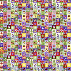 Полотно вафельное 150 см набивное арт 149 Тейково рис 30167 вид 1 Новогодняя мозайка