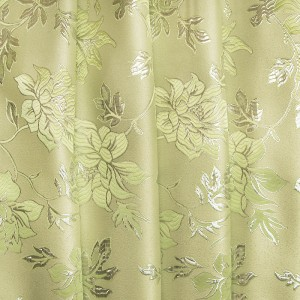 Портьерная ткань с люрексом 150 см на отрез Н627 цвет 11 салатовый цветы