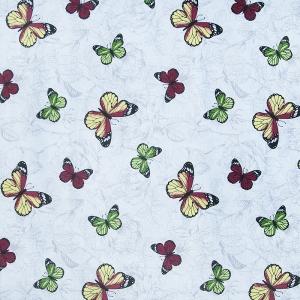Ткань на отрез полулен 150 см 175448 Бабочки красно-желтые 5333/1