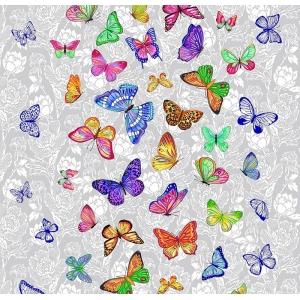 Ткань на отрез вафельное полотно 50 см 170 гр/м2 5634/1 Бабочки