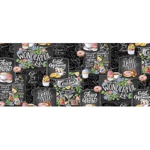 Ткань на отрез вафельное полотно набивное 150 см 30205/1 Грифель