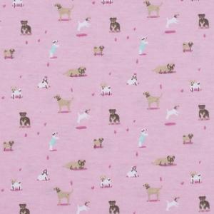 Ткань на отрез кулирка Собачки на розовом R314