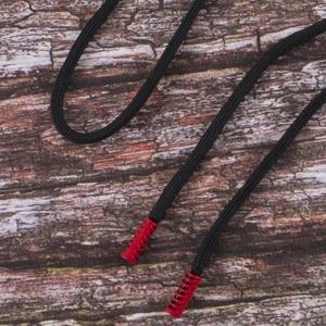 Шнур с декоративным метал наконечником красный 130см черный уп 2 шт