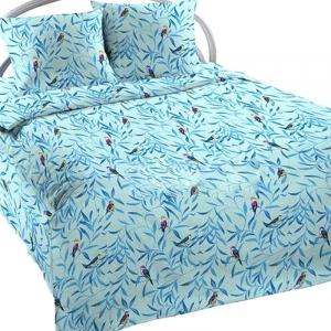 Ткань на отрез бязь ГОСТ Шуя 150 см 6184/5 Птички цвет голубой
