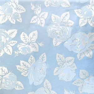 Тик 240 см 120 +/- 5 гр/м2 Розы цвет голубой