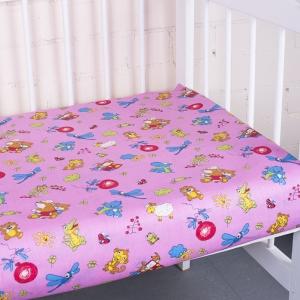 Простыня на резинке бязь детская 383/3 Зоопарк цвет розовый 60/120/12 см