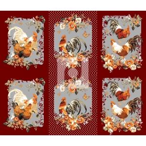 Вафельное полотно набивное 150 см 456/2 Год петуха цвет бордовый