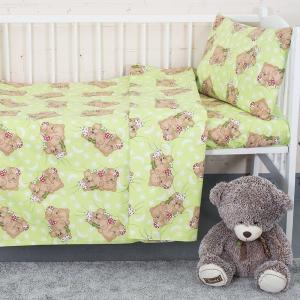 Постельное белье в детскую кроватку из бязи 1286/1 Соня зеленый