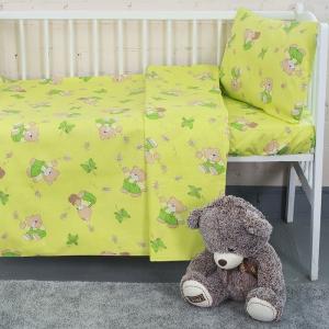 Постельное белье в детскую кроватку из бязи 1332/2 За медом салатовый