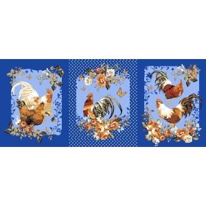 Вафельное полотно набивное 150 см 456/1 Год петуха цвет синий