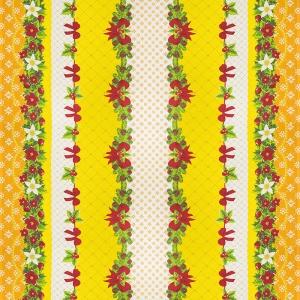 Вафельное полотно набивное 150 см 454/3 Новогодний цвет жёлтый